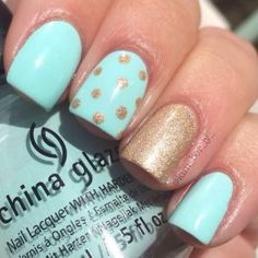 100 Beautiful and Unique Trendy Nail Art Designs Adorable Pastel Nail Ideas Easy on the eyes, pastel blue nail polish is complemented by a gorgeous sparkling polka dotted gold for accent. Recreate this manicure with the help of these products used. Fancy Nails, Trendy Nails, Diy Nails, Gold Nails, Sparkle Nails, Gold Glitter, Purple Sparkle, Glitter Nails, White Nails