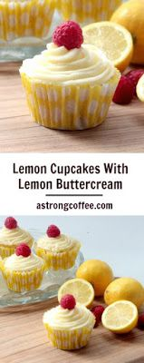 Cupcakes With Lemon Buttercream Easy to make Lemon Cupcakes With Lemon Buttercream and topped with a raspberry.Easy to make Lemon Cupcakes With Lemon Buttercream and topped with a raspberry. Lemon Desserts, Dessert Recipes, Lemon Cupcake Recipe Easy, Cupcake Recipes Easy, Wedding Cupcake Recipes, Baking Recipes Cupcakes, Mini Cakes, Cupcake Cakes, Lemon Buttercream Icing