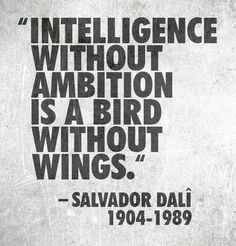 Intelligence without ambition is a bids without wings.