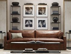 RH Leather Belgian track arm sofa