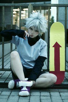 Killua Zoldyck Cosplay - Hunter X Hunter Cosplay Anime, Cosplay Boy, Epic Cosplay, Cute Cosplay, Cosplay Makeup, Amazing Cosplay, Cosplay Outfits, Halloween Cosplay, Family Cosplay