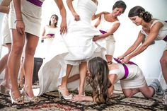 love this shot of all the bridesmaids helping! | Hunter McRae #wedding