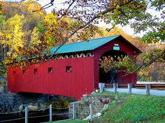 This quaint Covered Bridge spans the Battenkill River in Bennington Cnty, West Arlington, Vermont USA