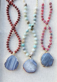 Gorgeous beaded gemstone necklaces with grey agate pendants
