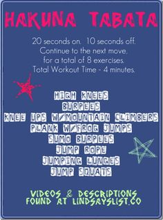 tabata workout. 4 minutes. there is no excuse not to do it!