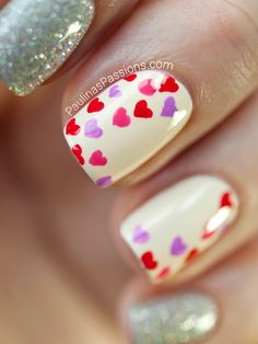 Paulinas Passions: Valentine Nails - Mini Hearts