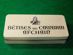 GRANDE BOITE VINTAGE EN METAL BETISES DE CAMBRAI AFCHAIN  DECO RETRO COLLECTION
