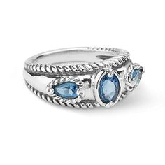 Carolyn Pollack Sterling Silver London Blue Topaz Band Ring  size 6 * Click on the image for additional details.Note:It is affiliate link to Amazon.