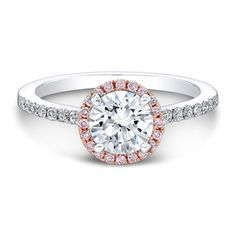 Engagement Ring 2.35 CT Round Cut halo 14k White/Rose by Zhedora