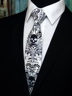 Skull Tie Cotton Black and White Steampunk Tie with Skull