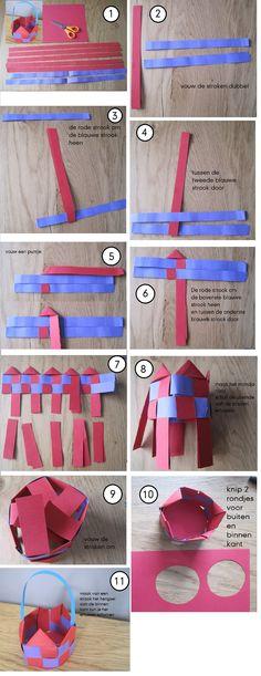 * Paasmandje vlechten in stappen met foto's. Tip: Gras erin?  Groene papier even door de papierversnipperaar of laten knippen.