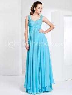 Sheath/Column Floor-length Chiffon Evening Dress With Straps - USD $ 249.99