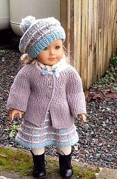 Fingering, DK Ravelry: Sideways Knit Doll Cardigan pattern by Beas FrogPond