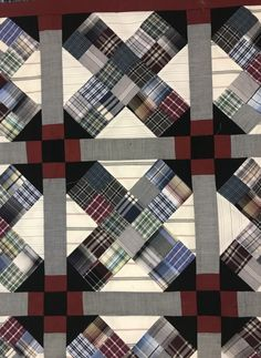 Recycled men's shirt quilt by Country Threads Chicken Scratch Recycled Mens Shirt, Recycled Denim, Plaid Quilt, Flannel Quilts, Plaid Flannel, Scrappy Quilts, Denim Quilts, Boy Quilts, Watercolor Quilt