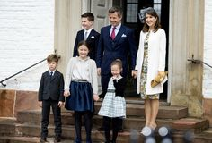kongehuset.dk: Confirmation of Prince Felix, April 1, 2017-top-Prince Christian, Crown Prince Frederik, Crown Princess Mary; bottom-Prince Vincent, Princess Isabella, Princess Josephine