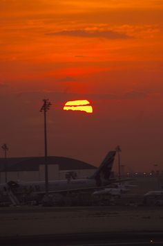 Sunrise at Doha International Airport, Qatar, not actually a favorite place..only when the sun rises!!