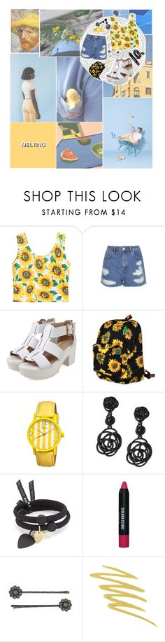 """Blue / Yellow (Sunflowers and Summer)"" by neatoshmeato ❤ liked on Polyvore featuring Topshop, Motel, Boum, Oscar de la Renta, Marc by Marc Jacobs, 1928 and Stila"