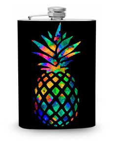 Rainbow Pineapple Flask 8oz Stainless Steel Metal Hip Liquor Container Whiskey Flasks Black Colorful Print Bright trendy Painting by Swagstr on Etsy