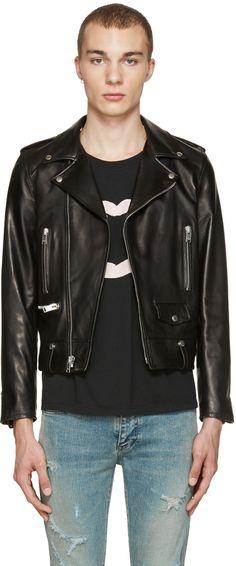 Saint Laurent: Black Leather Biker Jacket | SSENSE