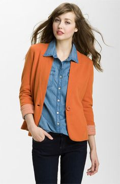 #Caslon� Double Knit Blazer. My mom got this is orange, and it is SO cute and figure flattering.  leather skirt #2dayslook #new leather skirt #leatherstyle  www.2dayslook.com