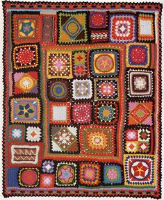 I like the odd sized, crocheted granny squares pieced together.  It looks more like a quilt.
