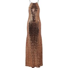 Badgley Mischka - Sequined Tulle Gown (€290) ❤ liked on Polyvore featuring dresses, gowns, copper, badgley mischka evening gowns, embellished gown, sequin evening dresses, sequin evening gowns and open back gown