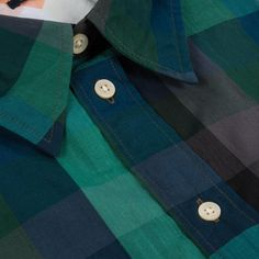 Paul Smith Men's Shirts | Green Large Check Slub-Chambray Shirt