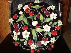 Cherries and blossoms pedestal cake
