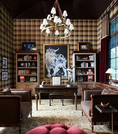 A menswear-plaid-pattern paper dresses this masculine office space. - Photo: Werner Straube / Design: Corey Damen Jenkins