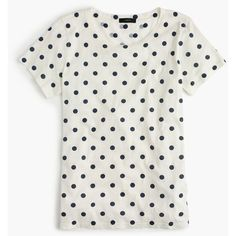 J.Crew Polka-dot T-shirt found on Polyvore featuring tops, t-shirts, white t shirt, summer t shirts, j crew tee, white tee and summer tees