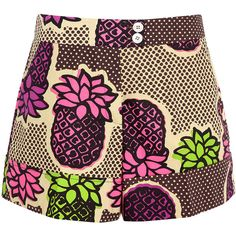 Moschino Cheap & Chic Pineapple Print Shorts ($206) ❤ liked on Polyvore