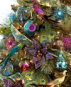 Holiday Lane Regal Peacock Tree Theme Holiday Lane For Peacock Christmas Decorations, Peacock Christmas Tree, Peacock Ornaments, Spruce Christmas Tree, Gold Christmas Tree, Beautiful Christmas Trees, Christmas Tree Themes, Christmas Baubles, Christmas Colors