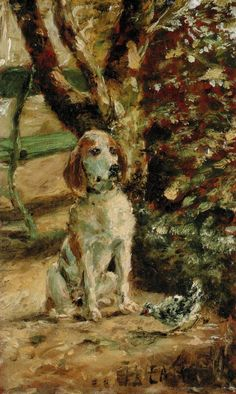 Henri de Toulouse-Lautrec (French artist, 1864-1901) The Artist's Dog Fleche (eyeing a brave chicken)