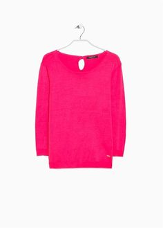 Essential sweater with scoop neckline, three-quarter sleeves and keyhole detail at back. Quarter Sleeve, Crop Tops, Sleeves, Sweaters, Women, Fashion, Moda, Fashion Styles, Sweater