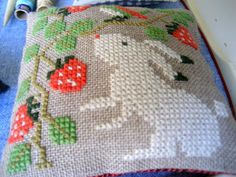 .rabbit and strawberries cross stitch small
