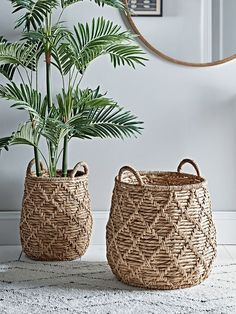 Baskets & Laundry Bags - Storage Furniture - Drawers, Ladders & Shelves - Storage Furniture & Solutions Crafted from woven water hyacinth with a natural finish, perfect for larger real or faux houseplants. Each basket is woven in a geometric pattern House Plants Decor, Plant Decor, Basket Weaving, Hand Weaving, New Swedish Design, Plant Basket, Wall Basket, Basket Planters, Baskets On Wall