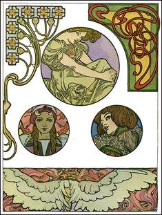 Artwork by Art Nouveau artist Alphonse Mucha (1860-1939).