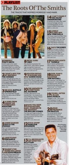 """""""The Roots of The Smiths"""" 20 tracks that inspired Morrissey and Marr - from Q May 2007"""