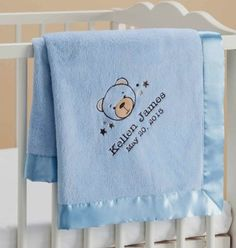 Personalized Sweet Bear Blue Baby Blanket - Walmart Gift http://fave.co/2didI1q