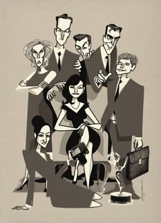 "Jonas Bergstrand- ""The Good Wife,"" for The New Yorker Desperate Housewives, Caricatures, Josh Charles, Chris Noth, Julianna Margulies, Just A Game, Retro Illustration, Frames, Humor"