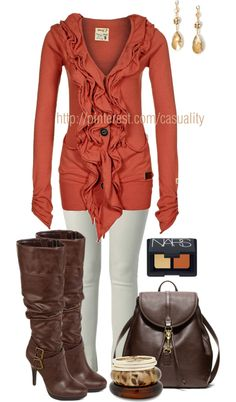"""""""Ruffled Cardigan & Knee High Leather Boots"""" by casuality on Polyvore"""