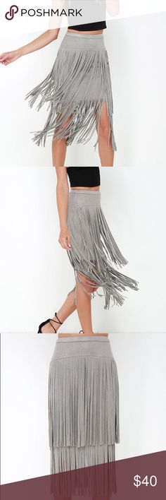 """Fringe Suede Midi Skirt Super soft suede fringe midi skirt.  💌 100% Soft Poly 💌 Hand wash cold or dry clean  💌 Fringe measures approx 14.5"""" at bottom 💌 Layered detail  🎀 Brand New condition - worn once for an event! Lulu's Skirts Midi"""