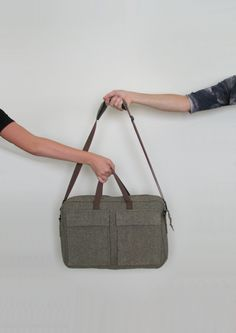 upcycled suit briefcase, women's briefcase, men's briefcase, upcycled clothing, eco fashion, laptop carrier, upcycled bag, carryall bag by ThreadandWoodCrafts on Etsy