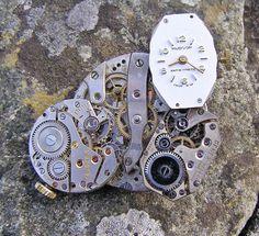 Steampunk Brooch, 4 Watch Movements Lapel Pin, Badge Handmade Arts and Craft, by ArtandThingsUK on Etsy