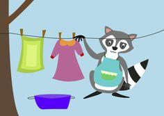 Raccoon doing the laundry www.jackelien.nl