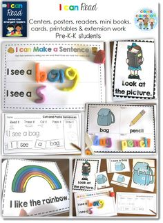 I can Read Emergent Center Activities - School Themed BUNDLE  ~ This pack is full of school themed activities for children who are using basic sentence structures when learning to read.   I have included a school theme as it should be universal to most children's experience.   The posters, centers and cards are provided in both color and black and white for your convenience.