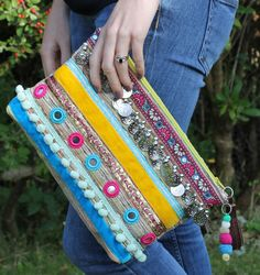 Silver Coin Ethnic Embellished Clutch Bag by RENIQLO on Etsy, £25.00