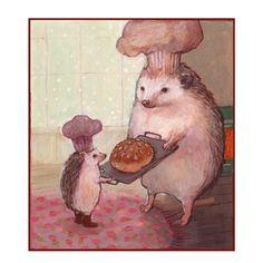 Illustration hedgehogs baking bun
