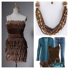 Brown Mix Bead Chunky Necklace Set