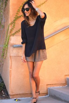 Oversized sweater & shorts. Great fall transition outfit!